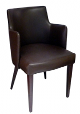 Moscow Wooden Armchair with Upholstered Seat & Back in Dark Walnut